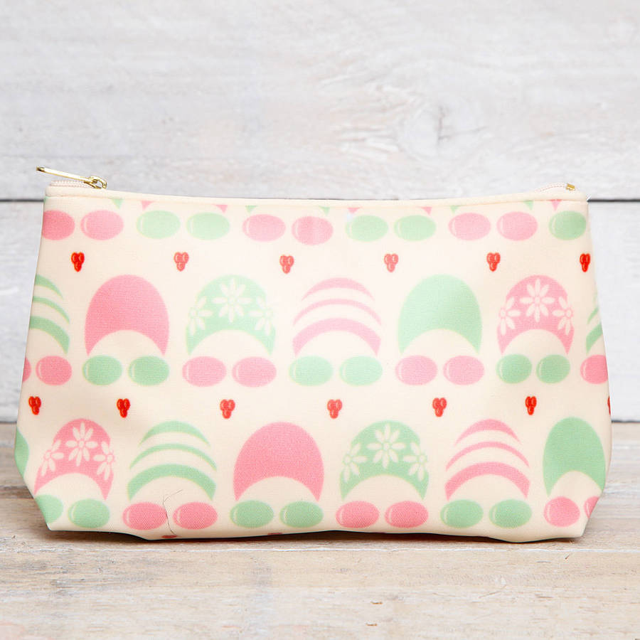 red berry apple Bathing Beauties Oilcloth Make Up Bag