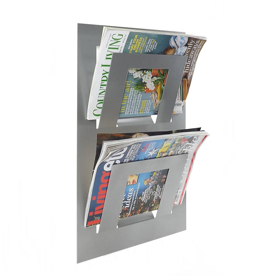 Wall Mounted Two Tier Magazine Rack