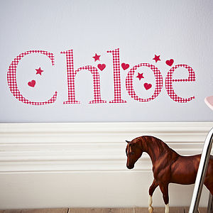Girl's Personalised Red Gingham Wall Letter - children's room