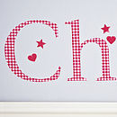 Personalised Red Gingham Wall Letter Sticker