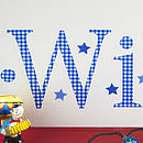 Personalised Navy Gingham Wall Letter Sticker