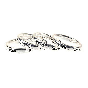 Live, Love, Dance, Sing Rings Set Of Four