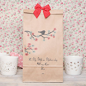 Personalised Dark Cherry Blossom Gift Bag - wrapping