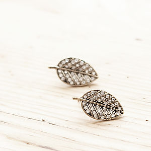 Diamante Silver Leaf Stud Earrings - earrings