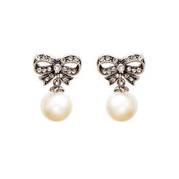 Paige Diamante Bow And Pearl Earrings