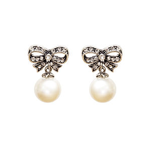 Paige Diamante Bow And Pearl Earrings - women's jewellery