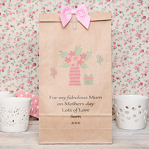Personalised Flowers In Vase Gift Bag - gift bags & boxes