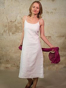 Linen Knee Length Double Layer Dress - dresses & skirts