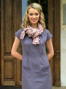 Emma Oval Neckline Linen Dress - dresses