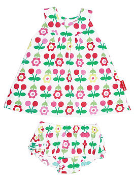 Cherry Flower Baby Dress And Pants Set