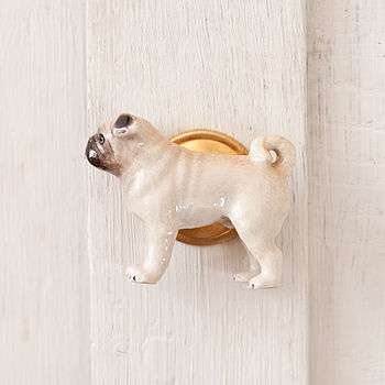 Porcelain Pug Dog Door Knob