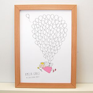 Personalised Fairy Balloon Signature Poster - pictures & prints for children