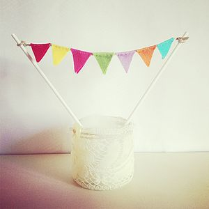 Rainbow Cake Bunting Topper - cake decoration