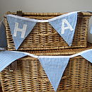 Personalised Boys Blue Gingham Bunting