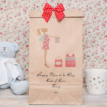 red mum to be gift bag