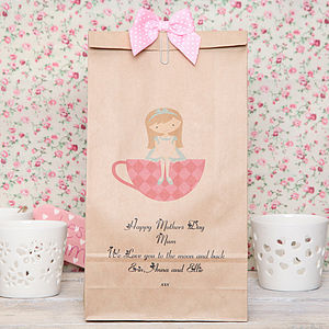 Personalised Girl In Cup Gift Bag - ribbon & wrap