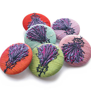 Thistle Freehand Embroidered Silk Pin Badge - women's jewellery