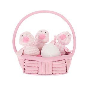 Chicks Rattle Or Squeak In A Basket - soft toys & dolls