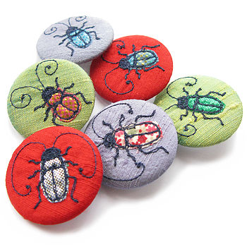 Beetle Design Embroidered Pin Badge