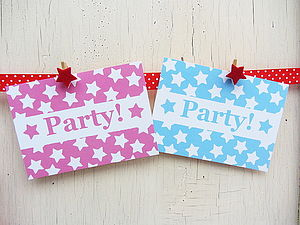 Star Design Party Invites - childrens party invitations