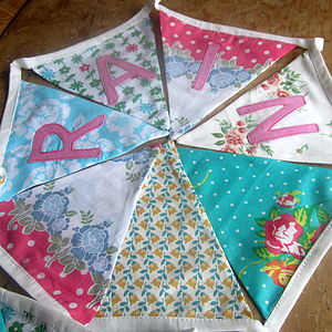 Girl's Personalised Floral Bunting - children's room