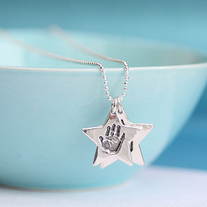 Handprint Double Star Charm Necklace