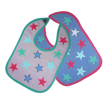 Organic Cotton Baby Bibs Blue / Red