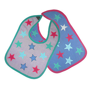 Pack Of Two Handmade Organic Cotton Baby Bibs