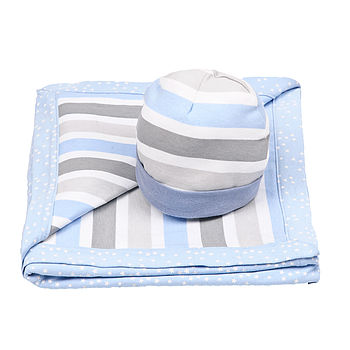 Striped Hat And Blanket Baby Gift Set