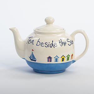 Personalised Beach Hut Teapot, Hand Painted - tableware