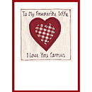 wife valentine card, red heart with gingham