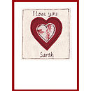 personalised heart card, red heart with floral