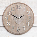 Wooden Distressed Washed Heart Clock
