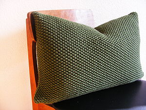 Moss Stitch Cushion Handknit In Military - bedroom