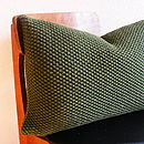 Moss Stitch Cushion Handknit In Military