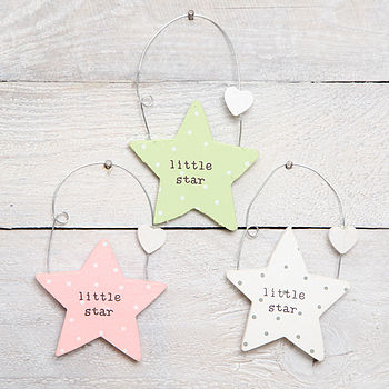Wooden Little Star Hanging Decoration