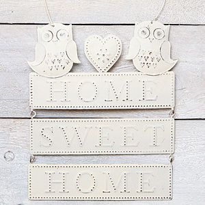 Owl 'Home Sweet Home' Hanging Decoration - outdoor decorations