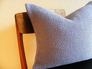 Hand Knit Lavender Moss Stitch Cushion