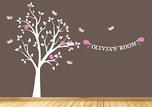 Personalised Bird's Nest Tree Wall Sticker - wall stickers