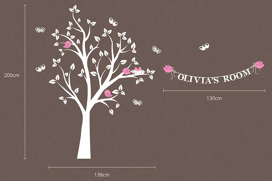 Personalised birds nest tree wall stickers