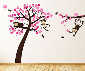 Monkey Blossom Tree Wall Sticker - children's room accessories