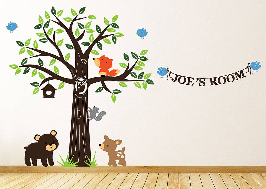 personalised woodland friends wall stickers by parkins. Black Bedroom Furniture Sets. Home Design Ideas