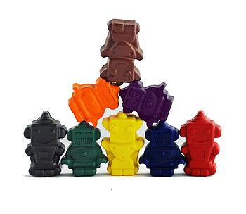 Set Of Eight Robot Crayons