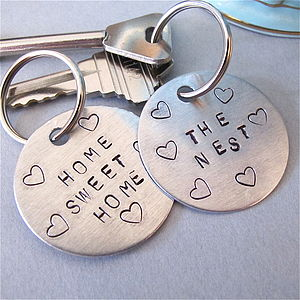 'Home Sweet Home' Personalised Key Ring - keyrings