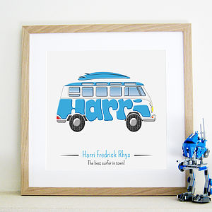 Personalised Camper Van Picture - pictures & prints for children