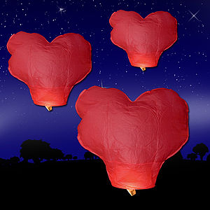 Pack Of Ten Red Heart Sky Lanterns - lights & lanterns