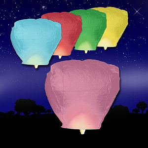 Ten Multi-Coloured Sky Lanterns - lights & candles