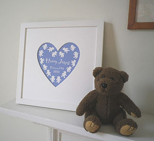 Personalised Heart Mount Baby's Name Print