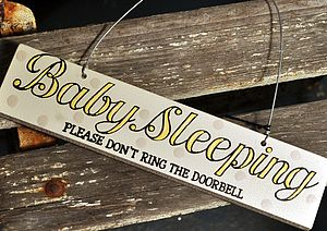 'Baby Sleeping' Hand Painted Wooden Door Sign - signs
