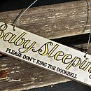 'Baby Sleeping' Hand Painted Wooden Door Sign